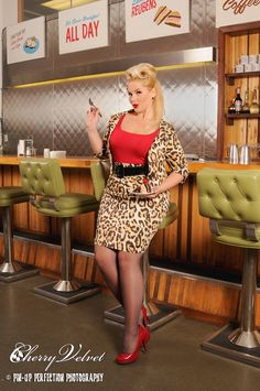 Elly Mayday wearing Cherry Velvet's Jackie Jacket & Vivian Skirt in Cheetah print (COMING SOON!) xox