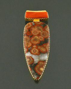 18K & Multi-Stone Pendant by Gail Bird (Laguna) & Yazzie Johnson (Navajo)