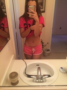 Happy about her stomach
