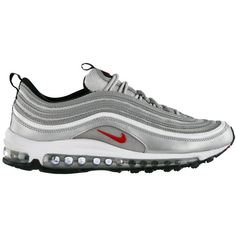 Nike Air Max 97 'Metallic Silver' Now Available ❤ liked on Polyvore featuring shoes, sneakers and nike