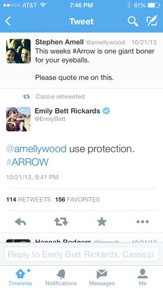 Lmao Stephen Amell and Emily Bett Rickards! Arrow about to start a Twitter account just to stalk the Arrow cast