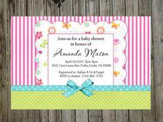 @Jamie Ladd  Baby shower Invitation girl bow stripes pink