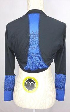 9dc76a6fdf9db MOXIE Cycling Womens Large Blue Black Print Long Sleeve Bolero Crop Jacket  NWT  Moxie