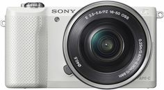 Sony - Alpha a5000 Mirrorless Camera with 16-50mm Retractable Lens - White - Front Zoom