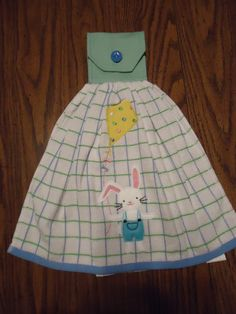 Spring Kitchen Towel, Bunny Flying Kite, Handmade Topper with Snap and Button Cover, Bunny, Kite by Marshaslilcraftpatch on Etsy