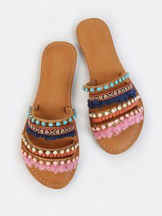Online shopping for Colorful Embellished Slip Ons TAN from a great selection of women's fashion clothing & more at MakeMeChic.COM.