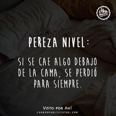 """""""Pereza nivel: si se cae algo debajo de la cama, se perdió para siempre"""""""