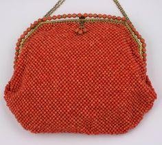 Rare 1910 Beaded Coral Bag, European, via 1stdibs.