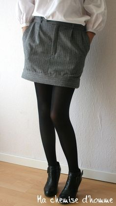 Upcycle - trousers to skirt. Link goes to whole blog, can't find a tutorial. Should be easy enough though.