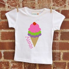 ice cream cone personalized tshirt or by MyPersonalizedTshirt, $17.95