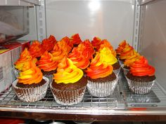 Fire Cupcakes by daisy5581, via Flickr. Hunger Games Birthday Cupcakes?