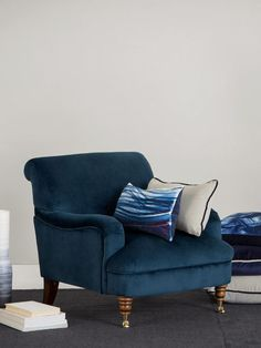 Midnight blue velvet accent chair, designed in collaboration with Kate Watson-Smyth of Mad about the House.