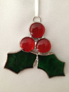 Stained Glass Christmas Ornament: Holly with Berries by Mama Agee on Etsy, $6.00
