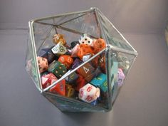 d20 5 inch dice bowl in beveled glass. I could totally see this filled like this as a centerpiece on my dining room table someday