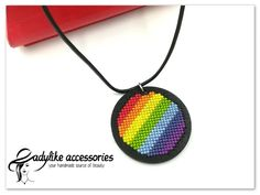 "Ladylike Accessories on Instagram: ""🌈 A rainbow to bring happiness in rainy days 🌈  #handmade #cusut #punctcruce #crossstitch #Romania #jewelry #woodbase #necklace…"""