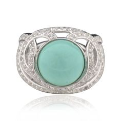 FD Sterling Silver Round Turquoise Ring (China) (Sterling Silver Round Turquoise Ring Sz 7), Women's, White (Metal)