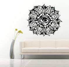 Wall Decals Mandala Eye Yoga Namaste Indian Geometric Moroccan Pattern Decal Vinyl Sticker Decal Art Home Decor Art Mural Bedroom MS225