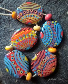 °° jasmin french °°    sgt. pepper    lampwork beads set    sra