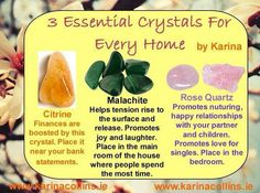 3 Essential Crystals For Every Home #citrine #malachite #rosequartz