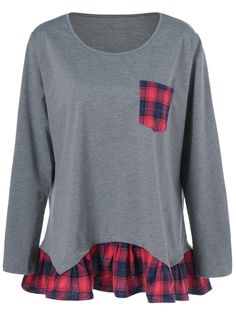 Plus Size Plaid Flounced Tee in Gray | Sammydress.com