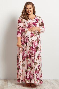 Light-Pink-Floral-Draped-3/4-Sleeve-Plus-Size-Maxi-Dress