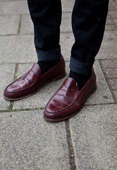 Vintage oxblood leather loafers £40.00