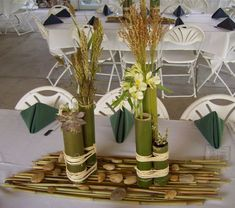 Bamboo Centerpieces with Wild Grasses, Succulents and Alstroemeria Asian Party Decorations, Outdoor Wedding Decorations, New Years Decorations, Table Decorations, Bamboo Centerpieces, Grass Centerpiece, Table Arrangements, Floral Arrangements, Hmong Wedding