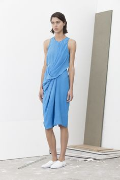Levi silk crepe all in one front drape dress with self belt