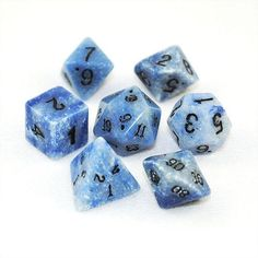 Stone Dice Blue Jasper 14mm Set and Bag