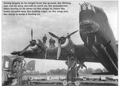 The Short Stirling sat very high and made it difficult to do maintenance. Navy Aircraft, Ww2 Aircraft, Military Aircraft, Ww2 Planes, Royal Air Force, Stirling, Royal Navy, Gliders, World War Ii