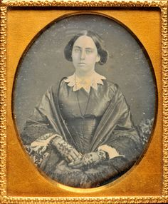 DAGUERREOTYPE OF YOUNG LADY WITH SATIN DRESS LACY FINGERLESS GLOVES