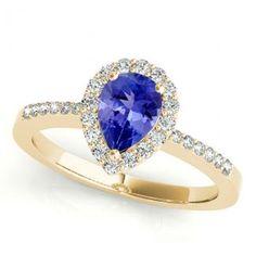 1.7ct Pear Tanzanite Ring With .224ctw Diamonds in 14k Yellow Gold - toptanzanite.com