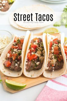Steak Street Tacos are portable tortillas filled with juicy seasoned beef, tomatoes, and cheese. Make this steak taco recipe for dinner tonight! Quick Recipes, Dairy Free Recipes, Quick Easy Meals, Delicious Recipes, Easy Family Dinners, Healthy Family Meals, I Love Food, Good Food, Yummy Food