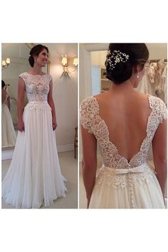 Really like this, looks like available online for $200 - check to see if reputable seller, maybe order///Simple Scoop A-line Floor Length Lace Chiffon Wedding Dress