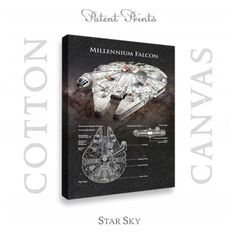 Star Wars Millennium Falcon Patent professionally printed on museum quality cotton canvas. Millennium Falcon canvas is available in various sizes and background colors. Wall Art Decor, Wall Art Prints, Poster Prints, Millennium Falcon Blueprint, Star Wars Prints, Vintage Medical, Star Wars Tshirt, Star Wars Poster, Star Sky