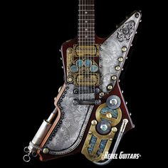 Venus Panthar - Google+ #SteamPunk #Gibson #Guitars Gibson Explorer Steampunk'd by Franco Design Studio For more info click the link: http://rebel-guitars.com/category/inventory/guitars/other-guitars/