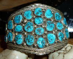#OnSale Now 25% Off! Incredible HUGE Estate Navajo Kingman Turquoise Nuggets Sterling Cuff Bracelet  28 handcut Gems Only $506.21 #GrabIt