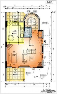 مخطط فيلا  صغيرة المساحه + البلانات (المبانى للدور الارضى  65 متر مربع)