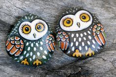 hand painted stone owl, magnet