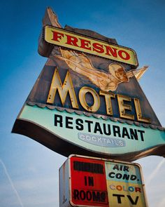 Fresno Motel and Restaurant Vintage Neon Sign