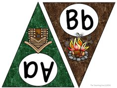 Camping Fun!  ABC Word Wall Pennant Banner for a Camping Classroom Theme