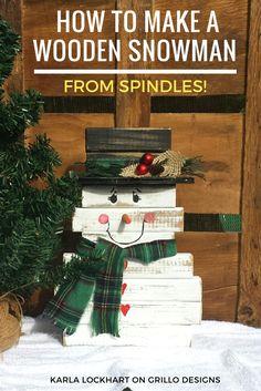 Make a super cute diy wooden snowman using leftover spindles / Grillo Designs Blog www.grillo-designs.com