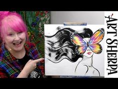 EASY GIRL BUTTERFLY MASK SURREAL beginners Acrylic Tutorial Step by Step
