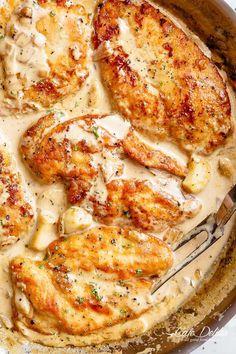 Creamy Garlic Chicken, Chicken Parmesan Recipes, Healthy Chicken Recipes, Cooking Recipes, Recipe Chicken, Chicken Salad, Chicken Meals, Chicken Curry, Baked Chicken