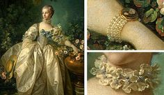 "historical jewelry from the renaissance to the in paintings at the national gallery in washington DC; i quite like the look of this pearls-and-cameo-bracelet in the painting ""Madame Bergeret"" by Francois Boucher, 1746"