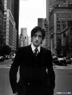 Adrien Brody black and white. Never seen a guy who can pull off the look of so many different eras without looking like he's sporting an affectation. Seems like one intriguing guy, and painfully talented.