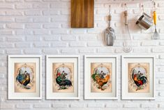 Set of 4 Rooster Wall Art Prints, Kitchen Decor, French Country Farmhouse Decor Rooster #WallHanging #SetOf4 #RoosterPrint #GalleryWallSet #NewHomeGift #FrenchProvincial #FarmhouseDecor #KitchenDecor #RoosterWallArt #HousewarmingGift