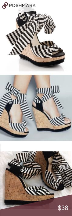 "Shoemint Kimbrly Wedge Shoes Rachel Bilson Size 9 1/2 M. Heel height is 6"". The black-and-white striped canvas adds a little whimsy to your look, the exaggerated ankle tie is adorable, and the platform cork sole is light and easy to walk in. 120716GWO300 (SHO1) Shoemint Shoes Wedges"
