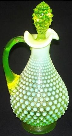 *FENTON ART GLASS ~  Topaz Decanter...this looks like vaseline glass to me!!