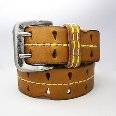 """Mens Womens Genuine Leather Belt Punched Holes Stitched 2 pins 32"""" 1.46"""" w_Brown"""